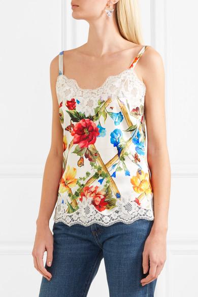 Dolce & Gabbana Top aus Satin aus einer Seidenmischung mit Spitzenbesätzen und floralem Print