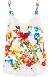 EXCLUSIVE Lace-trimmed floral-print silk-blend satin camisole
