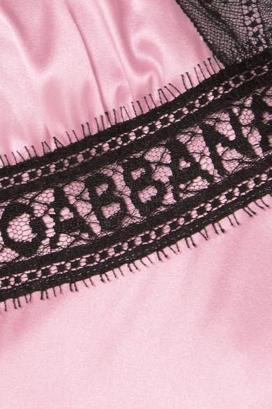 Dolce & Gabbana Satintop aus einer Seidenmischung mit Spitzenbesätzen Steckdose Kostengünstig Verkauf Truhe Bilder 3toPj73D0l