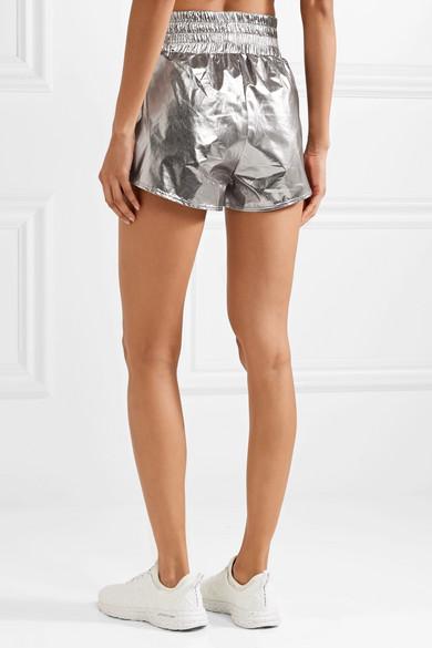 Heroine Sport Shorts aus Shell in Metallic-Optik mit Applikation und Ripsbandbesätzen