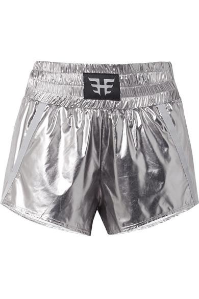 Heroine Sport Shorts aus Shell in Metallic-Optik mit Applikation und Ripsbandbesätzen Rabatt Manchester W4xRQHL