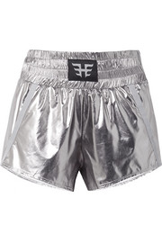 Appliquéd grosgrain-trimmed metallic shell shorts