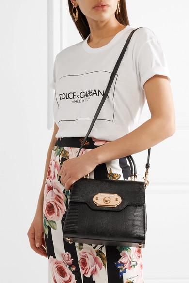 Dolce & Gabbana Welcome kleine Tote aus Leder mit Eidechseneffekt