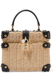 Dolce & Gabbana Dolce Box textured leather-trimmed wicker tote