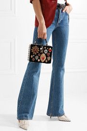 Dolce Box watersnake-trimmed embellished velvet tote