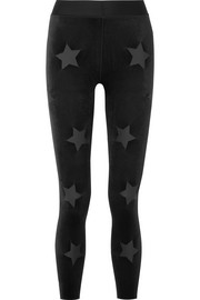 Ultracor Knockout appliquéd stretch-velvet leggings