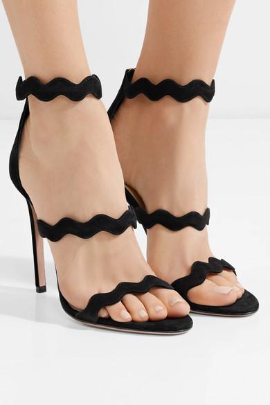 Prada Sandalen aus Veloursleder mit Wellenkante