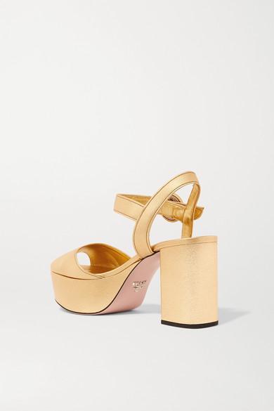 d171888e9c3 Prada. Metallic textured-leather platform sandals.  850. Zoom In