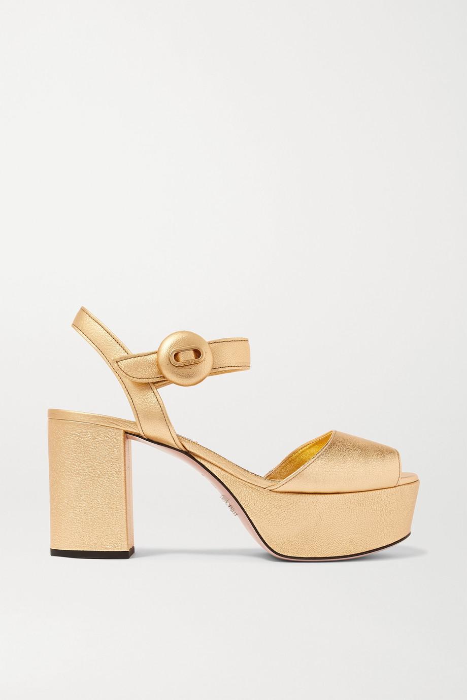 Prada 85 metallic textured-leather platform sandals