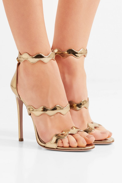 Prada Sandalen aus Metallic-Leder mit Wellenkanten