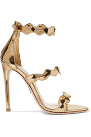 Scalloped metallic leather sandals
