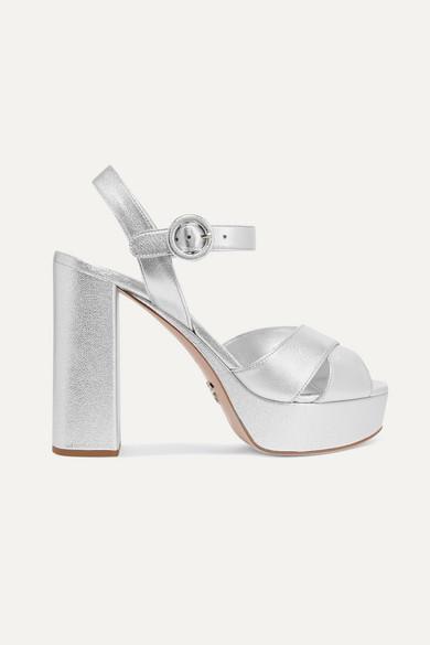 Platform Metallic Sandals Leather Textured nwkNOZ8P0X