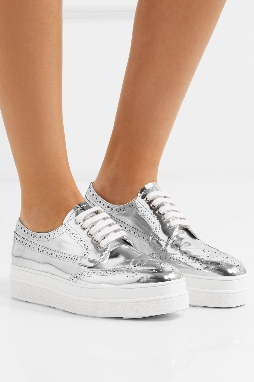 Silver Metallic leather platform