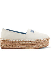 Textured-leather platform espadrilles