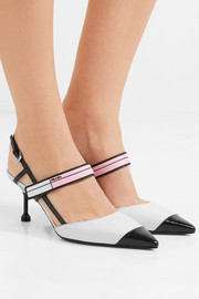 Logo-print glossed-leather slingback pumps