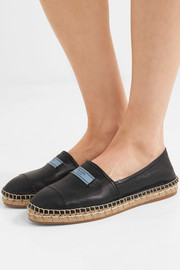 Textured-leather espadrilles