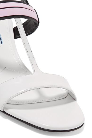 Prada Slingback-Sandalen aus Glanzleder mit Logoprint