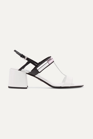 LOGO-PRINT GLOSSED-LEATHER SLINGBACK SANDALS