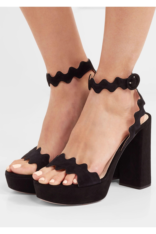 Black Suede platform sandals   Prada