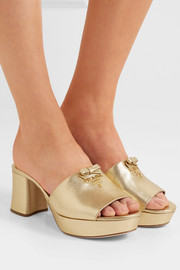 Metallic textured-leather platform mules