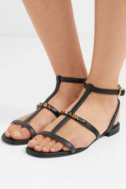 Emebllished textured-leather sandals