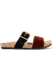 Prada Two-tone velvet slides