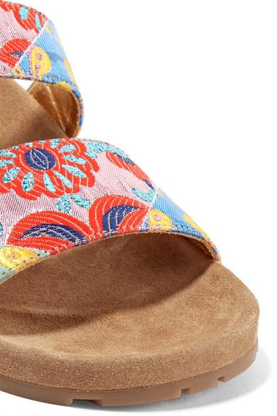 Prada Pantoletten aus Brokat und Veloursleder Preiswerte Reale Eastbay Pay Online Mit Visa-Verkauf qD5E9