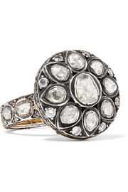 14-karat gold, sterling silver and diamond ring