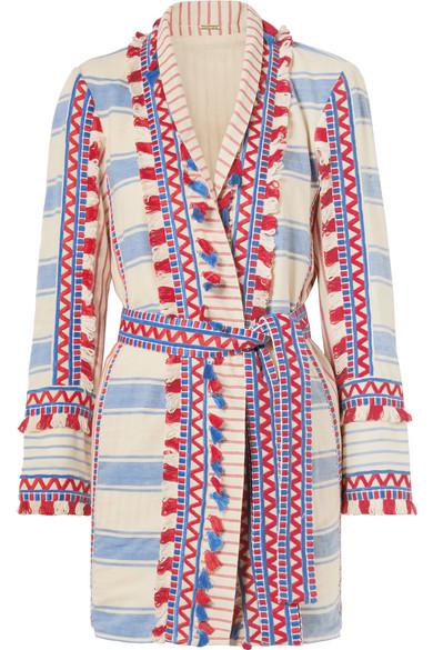 Dodo Bar Or Verzierte Jacke aus gestreifter Baumwoll-Gaze mit Troddeln