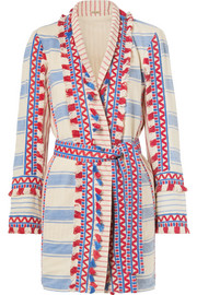 Mia tasseled striped cotton-gauze jacket