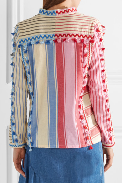 Dodo Bar Or Shirt From Striped Cotton Gauze With Tassels