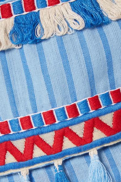 Dodo Bar Or Jacke aus gestreifter Baumwoll-Gaze mit Troddeln