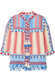 Dodo Bar Or Tasseled striped cotton-gauze jacket