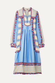 Stephanie tasseled striped cotton-gauze midi dress