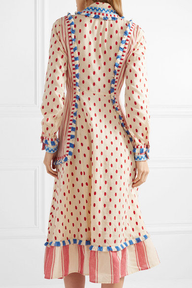Dodo Bar Or Besticktes Kleid aus Baumwoll-Gaze mit Fransen