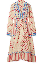 Fringed embroidered cotton-gauze dress