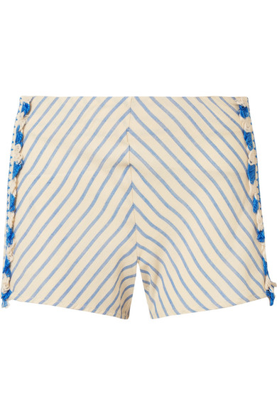 Dodo Bar Or  TASSELED STRIPED COTTON-GAUZE SHORTS
