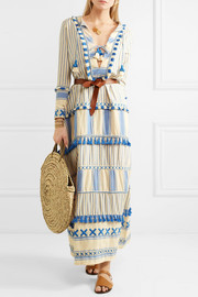 Samuelle tasseled striped cotton-gauze maxi dress