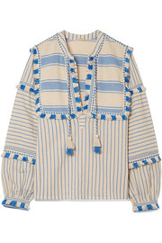 Emmanuelle tasseled striped cotton-gauze blouse
