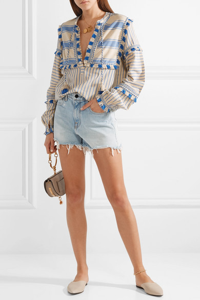 Dodo Bar Or Blouse From Striped Cotton Gauze With Tassels