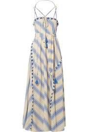 Dodo Bar Or Tasseled striped cotton-gauze maxi dress