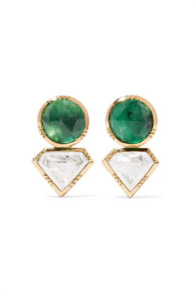 Brooke Gregson 18-karat Gold, Emerald And Diamond Earrings