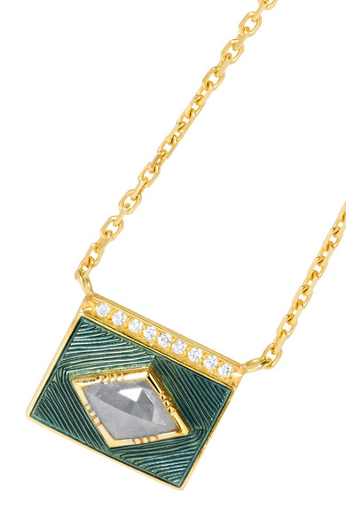 Kite Halo 18-karat Gold, Diamond And Enamel Necklace - one size Brooke Gregson