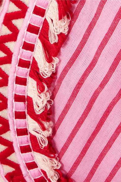 Dodo Bar Or Wickelkleid aus gestreifter Baumwoll-Gaze mit Troddeln