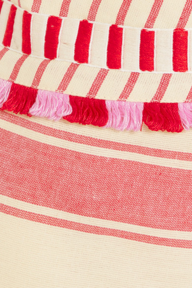 Dodo Bar Or Minirock Striped In Wickeloptik Cotton Gauze With Tassels