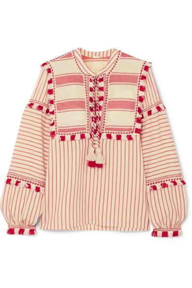Dodo Bar Or Bluse aus gestreifter Baumwoll-Gaze mit Troddeln
