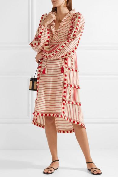 Dodo Bar Or Kleid aus gestreifter Baumwoll-Gaze mit Troddeln
