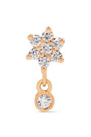 Flower 18-karat rose gold diamond earring