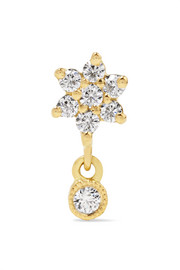 Flower 18-karat gold diamond earring