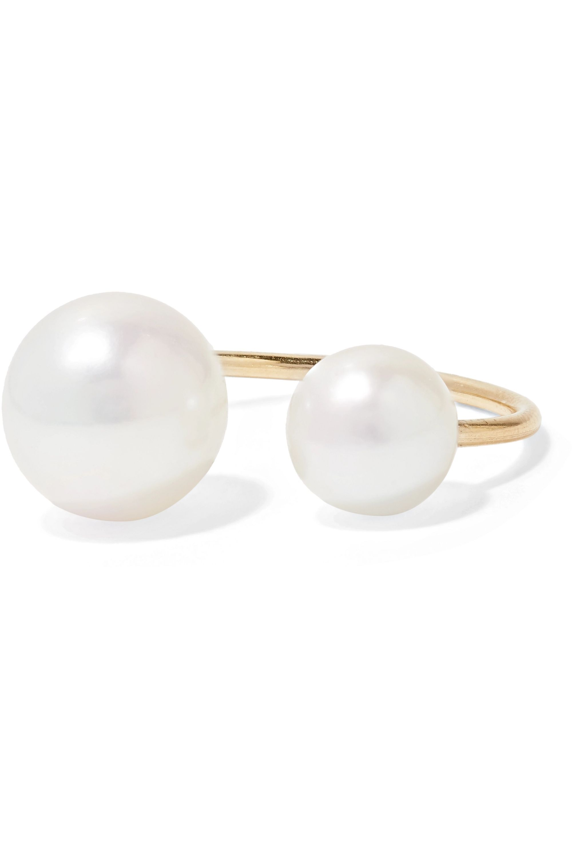 Mizuki 14-karat gold pearl ear cuff